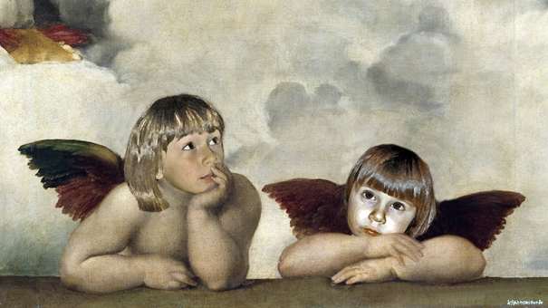 The Sistine Madonna Group of angels-detail Raphael (1483-1520/Italian) Oil on canvas Gemaldegalerie, Dresden, Germany