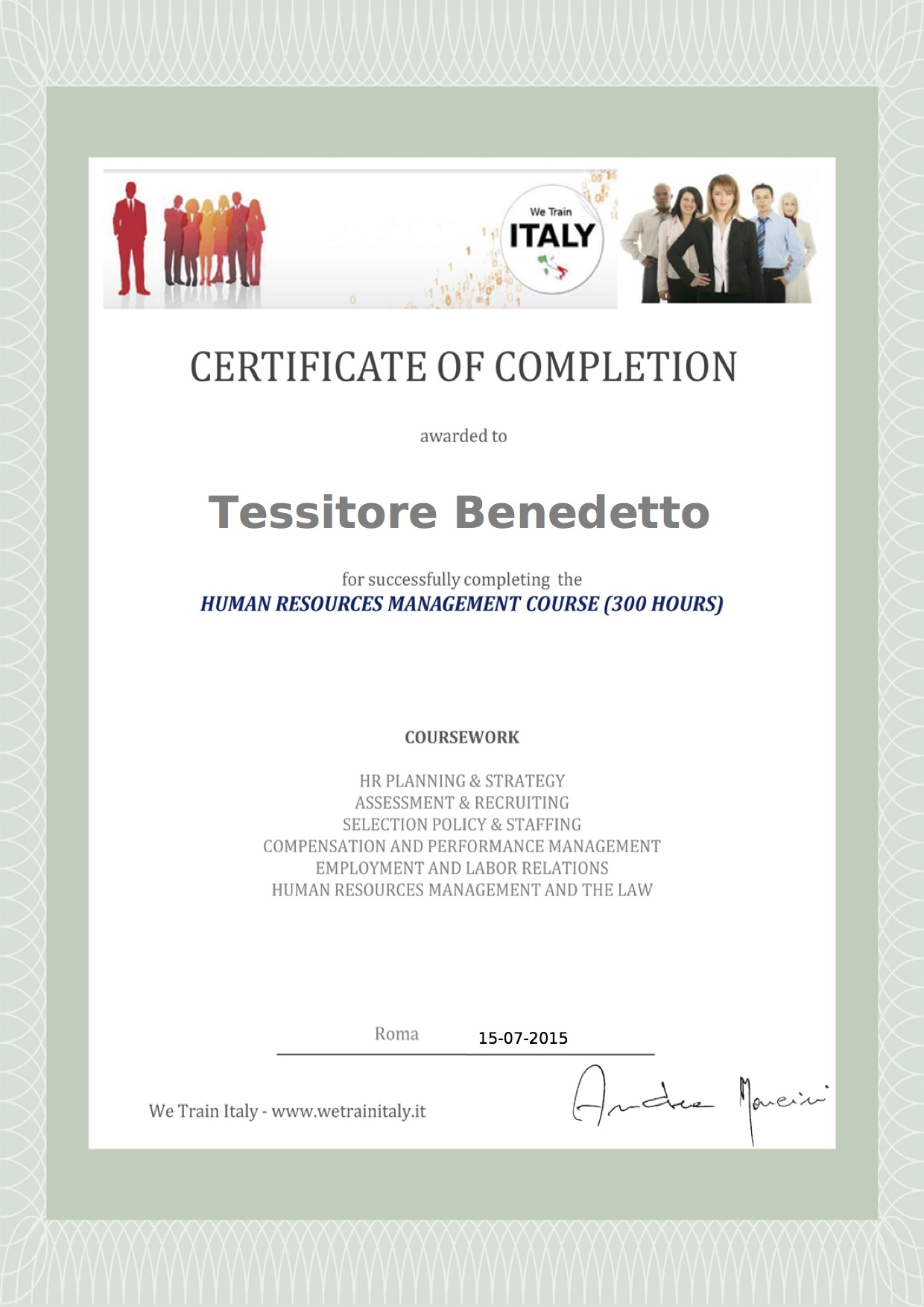 Certificate completion course Human Resources Management