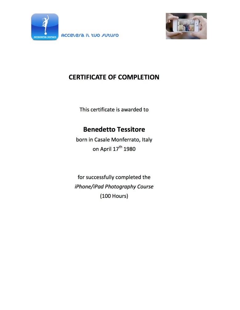 CertificateCompletionFotografiaIphoneIpad_Tessitore