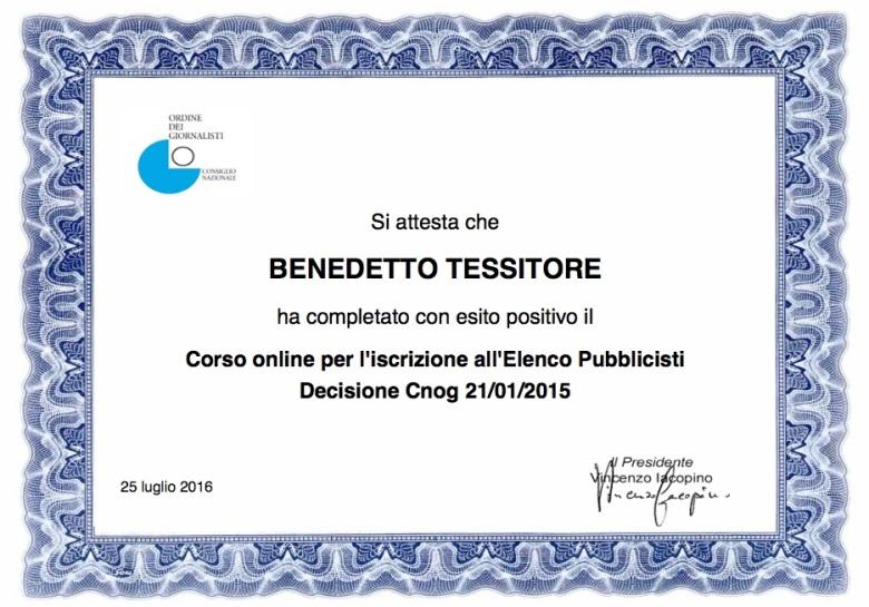 Pubblicista_Certificato di frequenza
