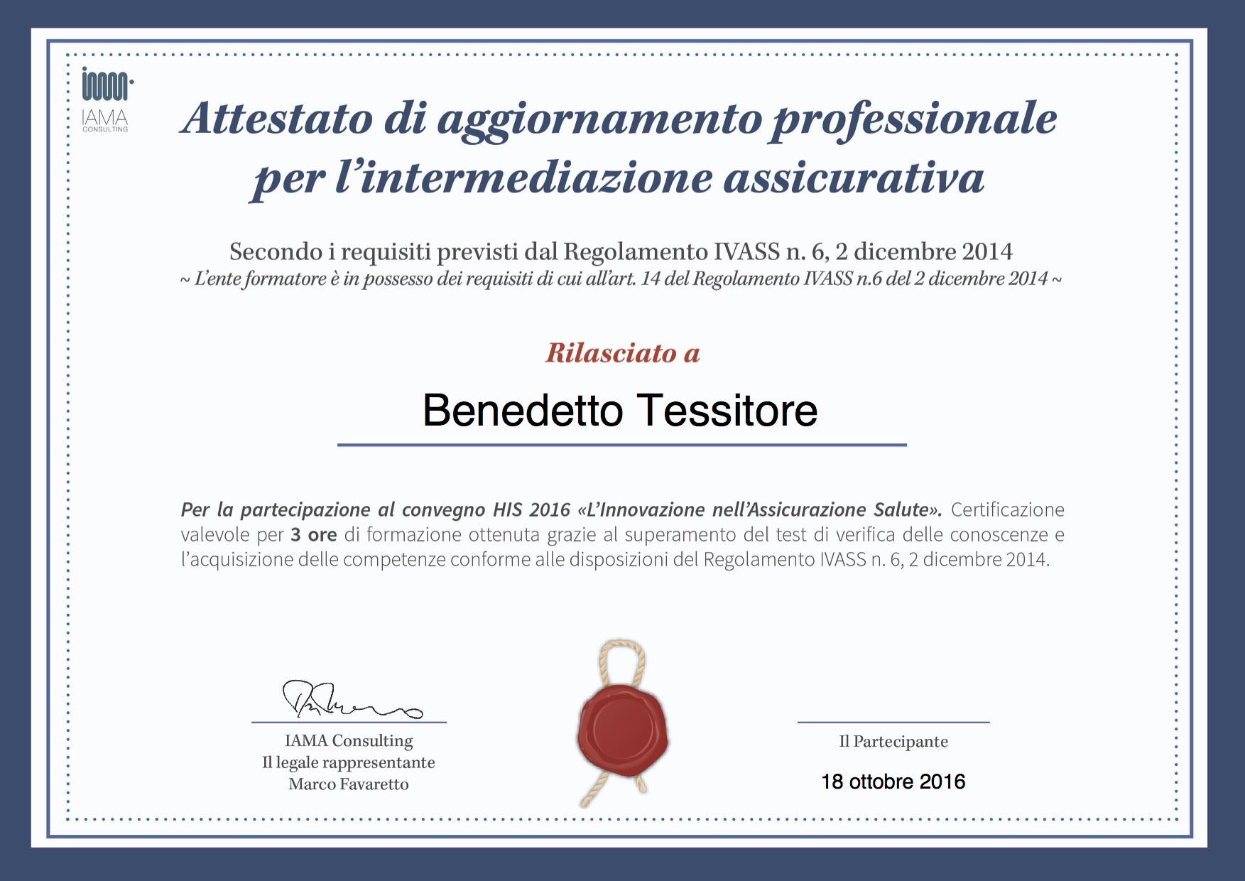 RBM_HIS2016_HIS 2016 Rilascio Attestato